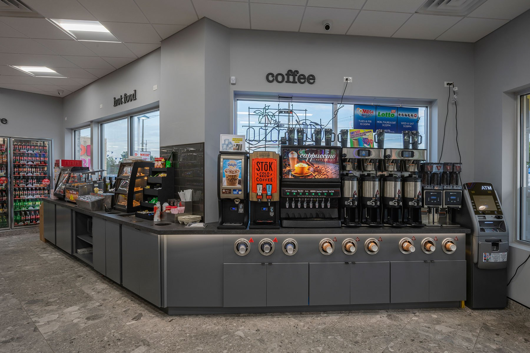Coffee Hot Food Stations - BP Gas Station in Waukegan Custom Home. America's Custom Home Builders: New Construction, Remodeling, Restoration Services. Residential and Commercial.