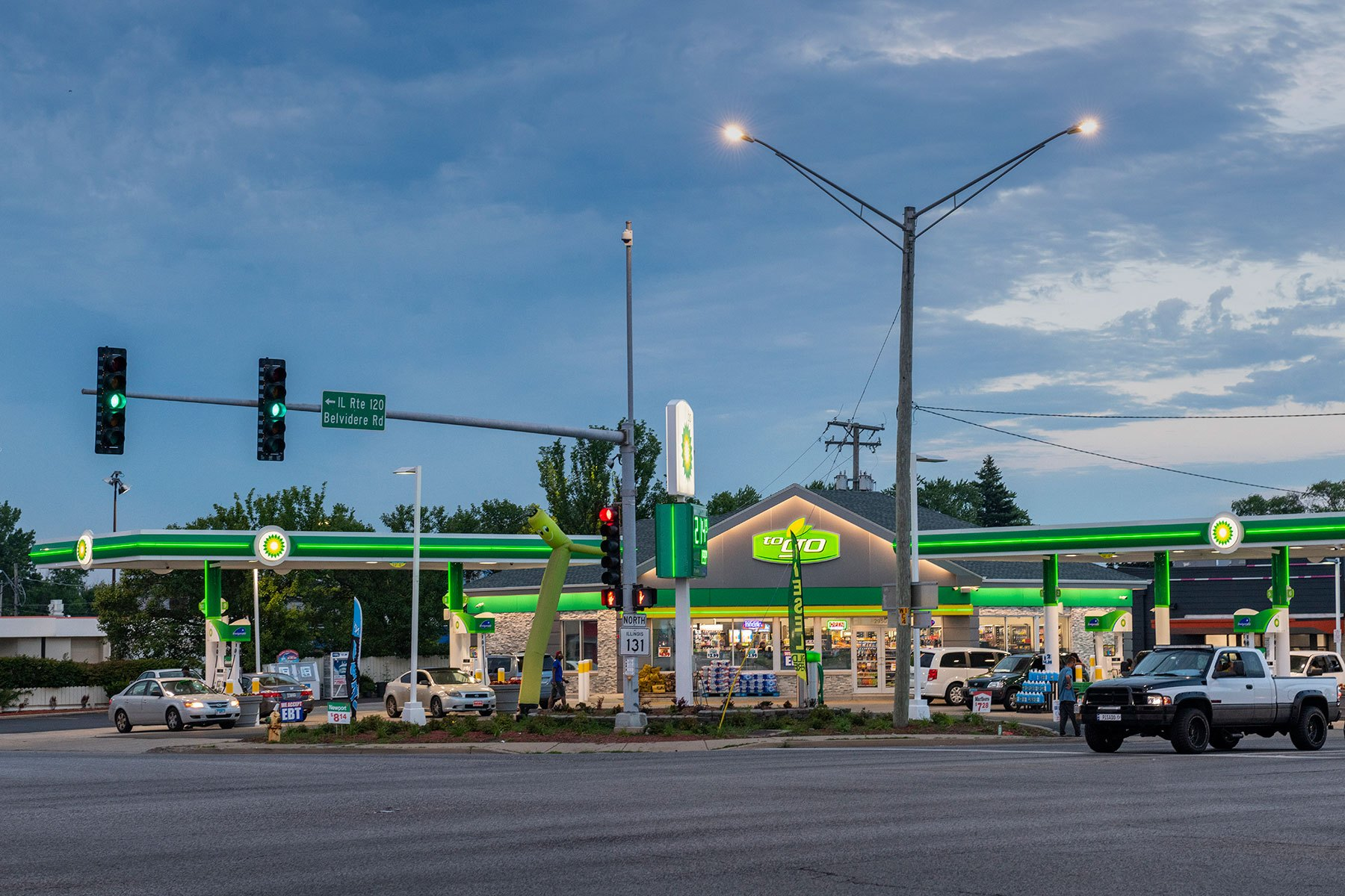 Front Elevation Night View - BP Gas Station in Waukegan Custom Home. America's Custom Home Builders: New Construction, Remodeling, Restoration Services. Residential and Commercial.