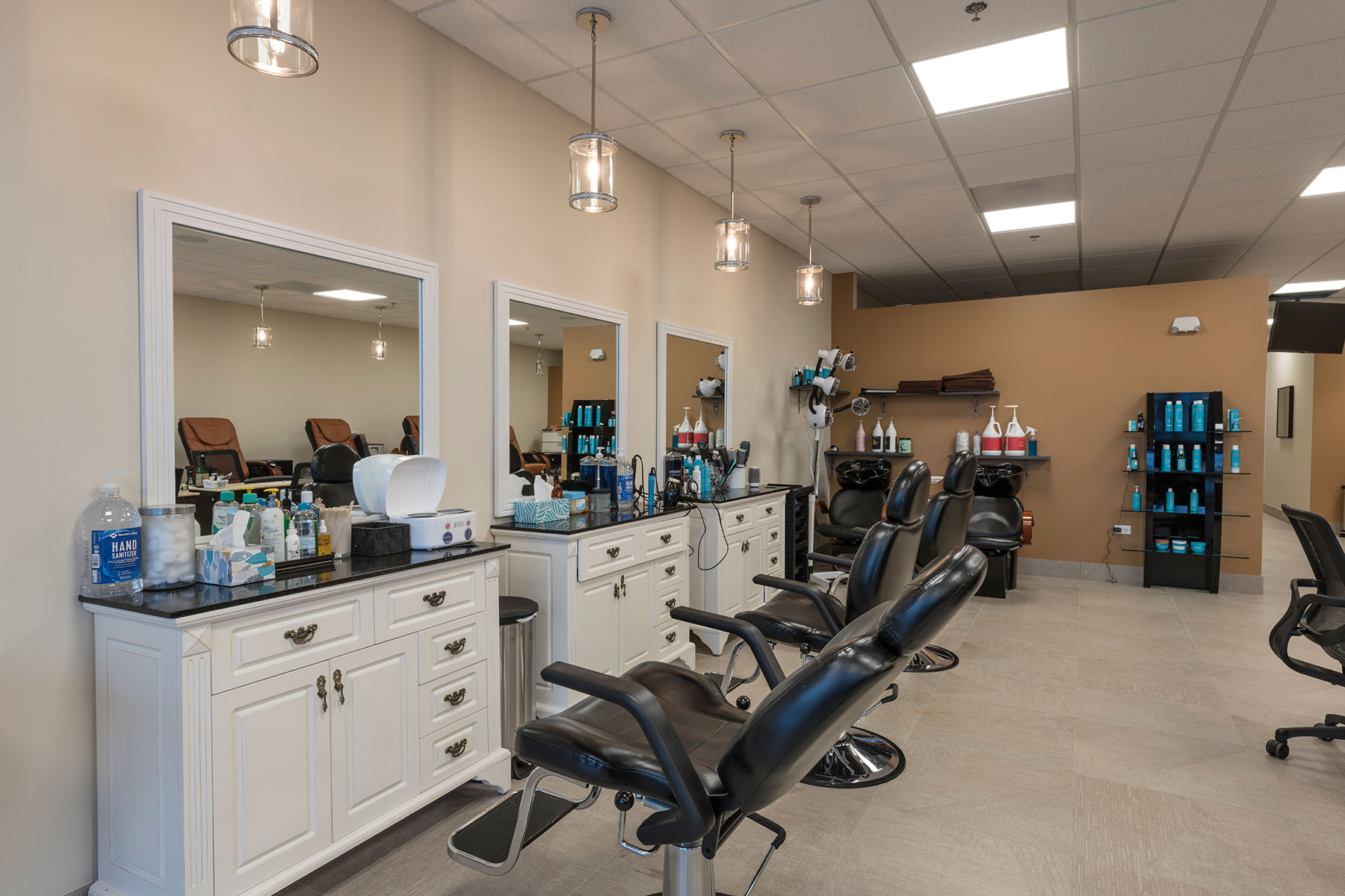 Haircut Stations2 - Hollywood Trendz Hair & Spa Salon, Addison Custom Home. America's Custom Home Builders: New Construction, Remodeling, Restoration Services. Residential and Commercial.